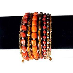 Jewelry - Multi-tonal orange beaded wire bracelet